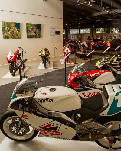 A superb collection of 25 Grand Prix motorcycles from the two famous Italian marques, Aprilia and Cagiva, are housed in the History of Motorspor