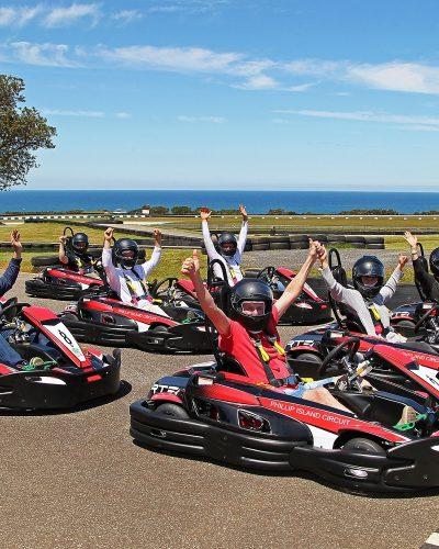 The 750m Go Kart track is a replica of the Phillip Island Grand Prix Circuit